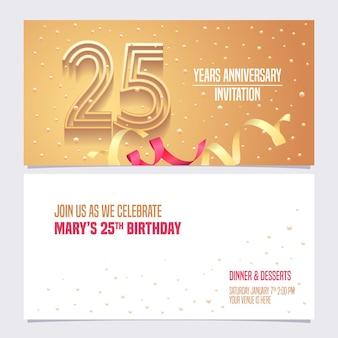 Convite de aniversário de 25 anos.