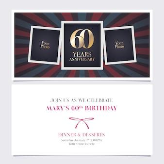 Convite de aniversário de 60 anos. colagem de moldura de foto para cartão de aniversário de 60 anos, convite para festa