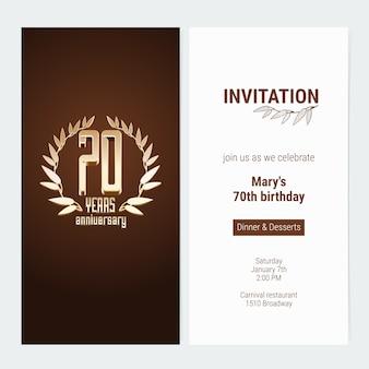 Convite de aniversário de 70 anos