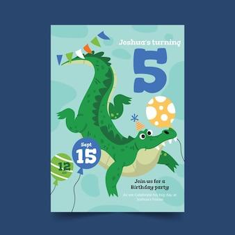 Convite de aniversário de animais de desenho animado