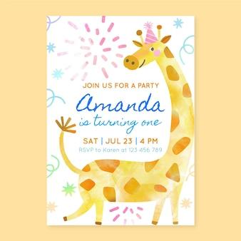 Convite de aniversário de animais pintados à mão