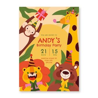 Convite de aniversário de animais planos