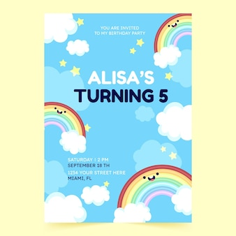 Convite de aniversário de arco-íris de desenho animado