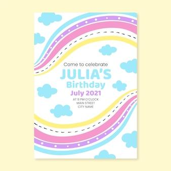Convite de aniversário de arco-íris desenhado à mão