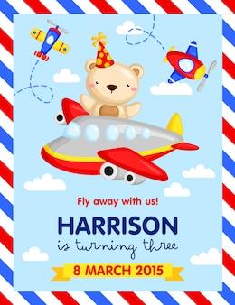 Convite de aniversário de avião