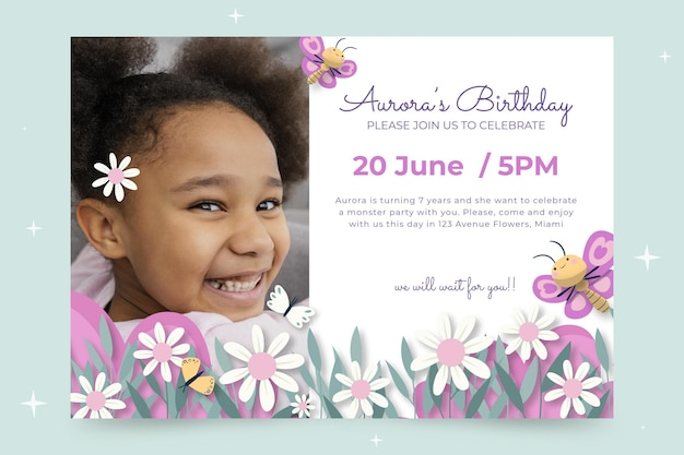 Convite de aniversário de borboleta com foto
