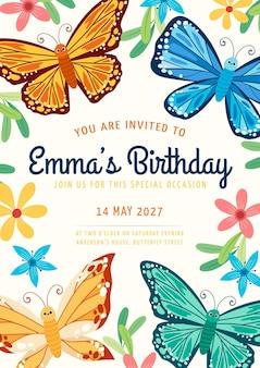 Convite de aniversário de borboleta de desenho animado