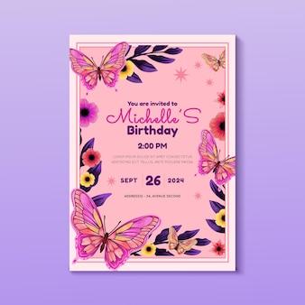Convite de aniversário de borboleta em aquarela pintada à mão