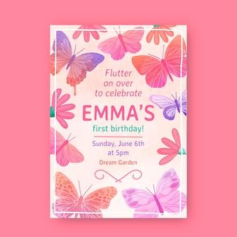 Convite de aniversário de borboleta pintado à mão
