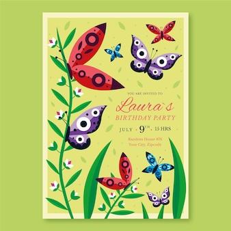Convite de aniversário de borboleta plana