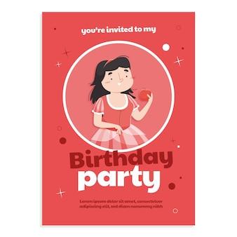 Convite de aniversário de branca de neve de desenho animado
