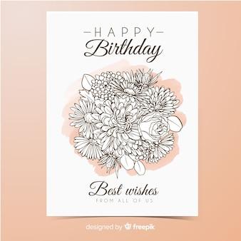 Convite de aniversário de buquê de flores