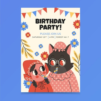 Convite de aniversário de capuz vermelho desenhado a mão