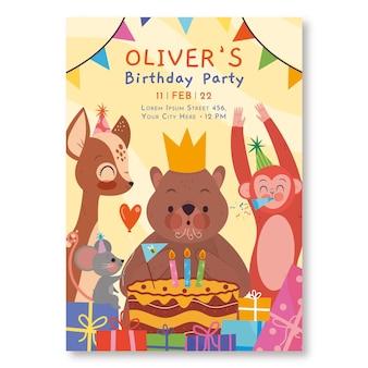Convite de aniversário de criança plana