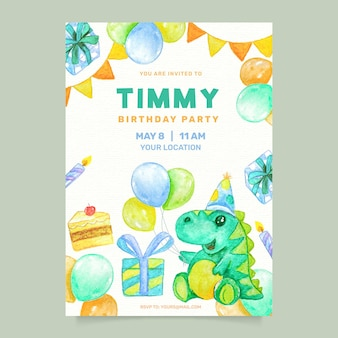 Convite de aniversário de crianças em aquarela com dinossauro
