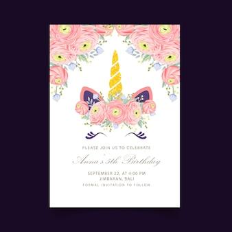 Convite de aniversário de crianças floral com unicórnio fofo