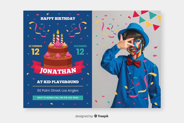 Convite de aniversário de crianças modelo com foto