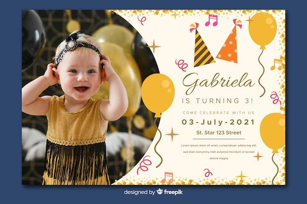 Convite de aniversário de crianças modelo com imagem