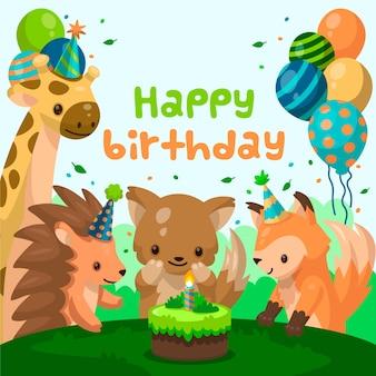 Convite de aniversário de design plano com animais dos desenhos animados