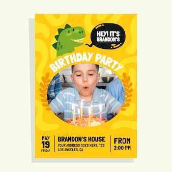 Convite de aniversário de dinossauro com foto