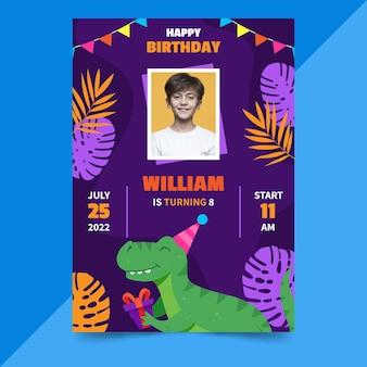 Convite de aniversário de dinossauro de desenho animado com foto