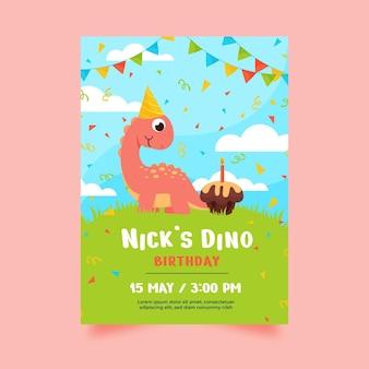 Convite de aniversário de dinossauro de desenho animado