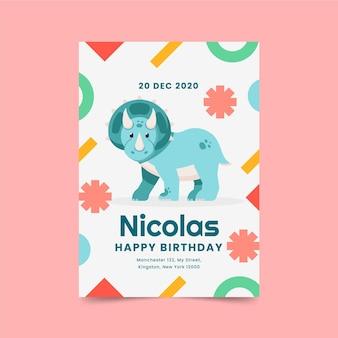 Convite de aniversário de dinossauro de design plano