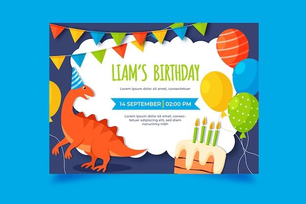 Convite de aniversário de dinossauro desenhado à mão