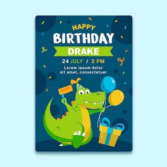 Convite de aniversário de dinossauro orgânico