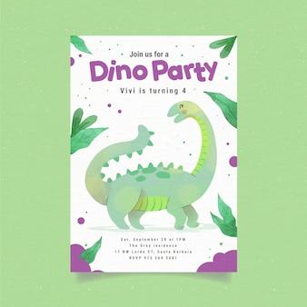 Convite de aniversário de dinossauro pintado à mão em aquarela
