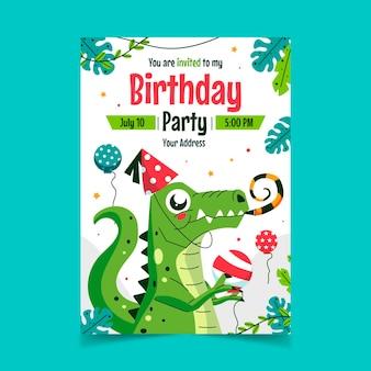 Convite de aniversário de dinossauro plano orgânico