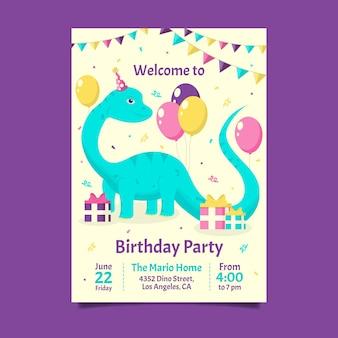Convite de aniversário de dinossauro plano