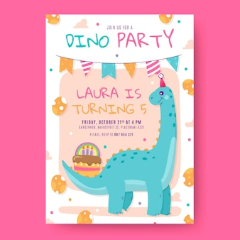 Convite de aniversário de dinossauro
