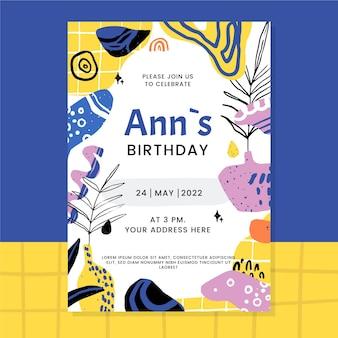 Convite de aniversário de formas planas e abstratas desenhadas à mão