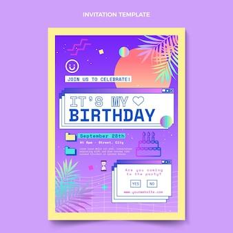 Convite de aniversário de gradiente vaporwave
