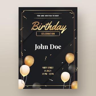 Convite de aniversário de luxo dourado gradiente