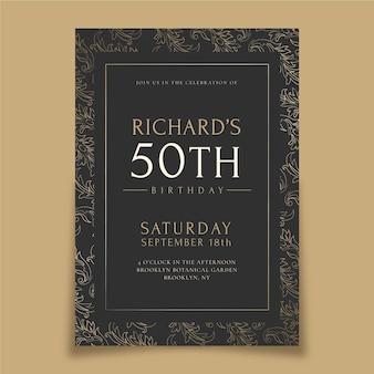 Convite de aniversário de luxo dourado realista
