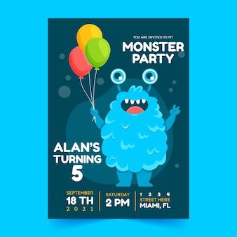 Convite de aniversário de monstros de desenho animado