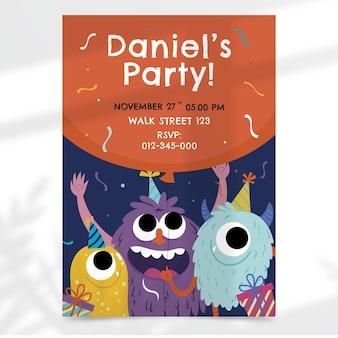 Convite de aniversário de monstros desenhado à mão