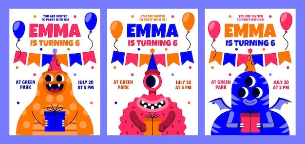 Convite de aniversário de monstros planos