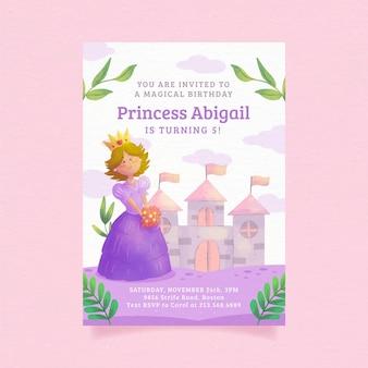 Convite de aniversário de princesa pintada à mão em aquarela