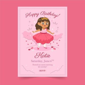 Convite de aniversário de princesa plana orgânica