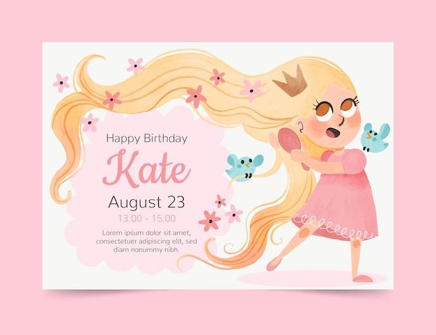Convite de aniversário de rapunzel pintado à mão em aquarela