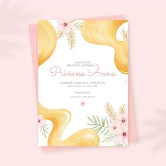 Convite de aniversário de rapunzel pintado à mão