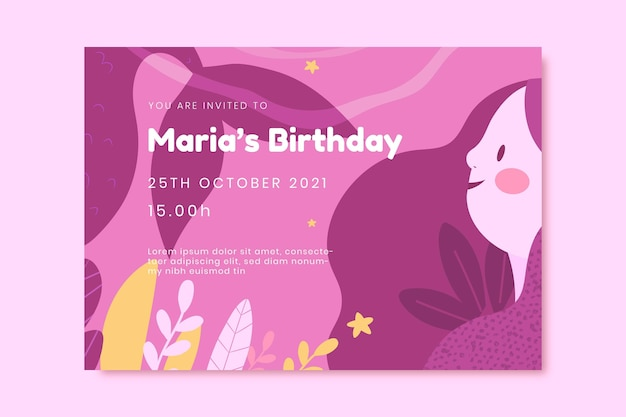 Convite de aniversário de sereia de desenho animado