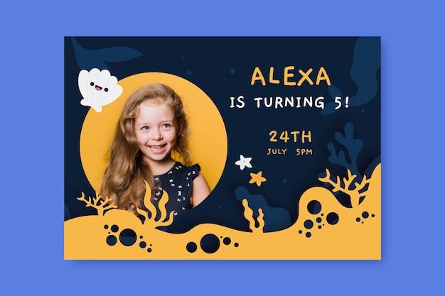 Convite de aniversário de sereia desenhado a mão com foto