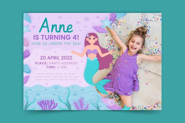Convite de aniversário de sereia plana orgânica com foto