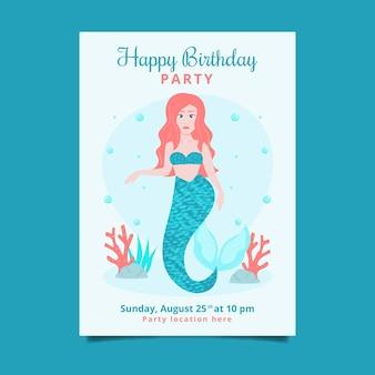 Convite de aniversário de sereia plana orgânica