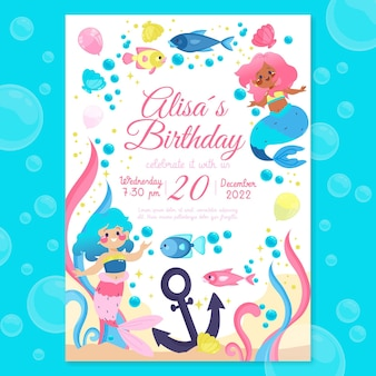 Convite de aniversário de sereia plana