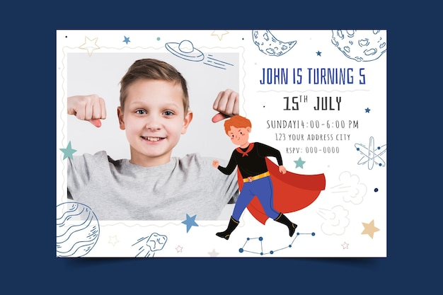 Convite de aniversário de super-herói desenhado à mão